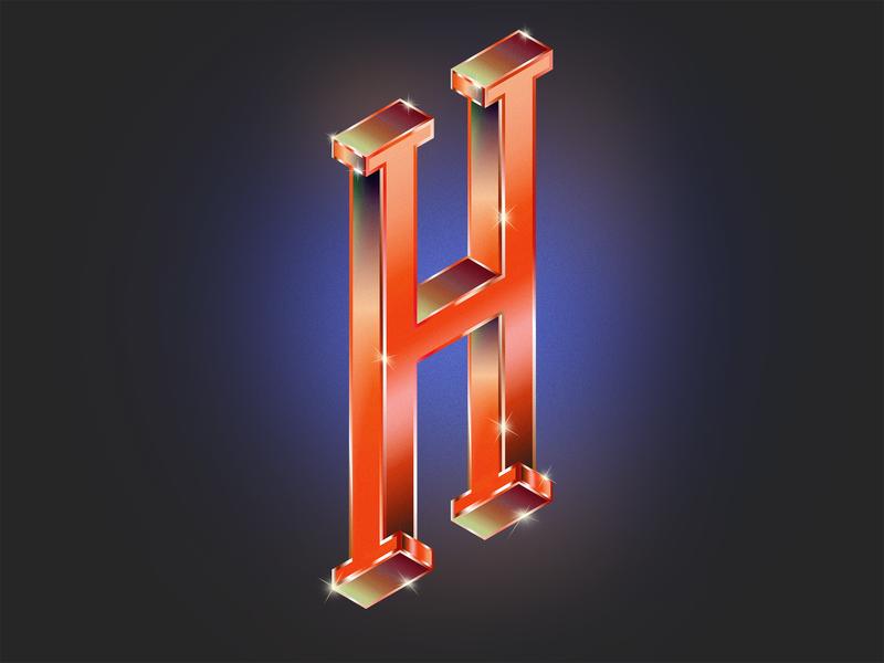 Isometric H design type art optical illusion escher texture gradient art digital daily inspiration visual design graphic typogaphy isometric