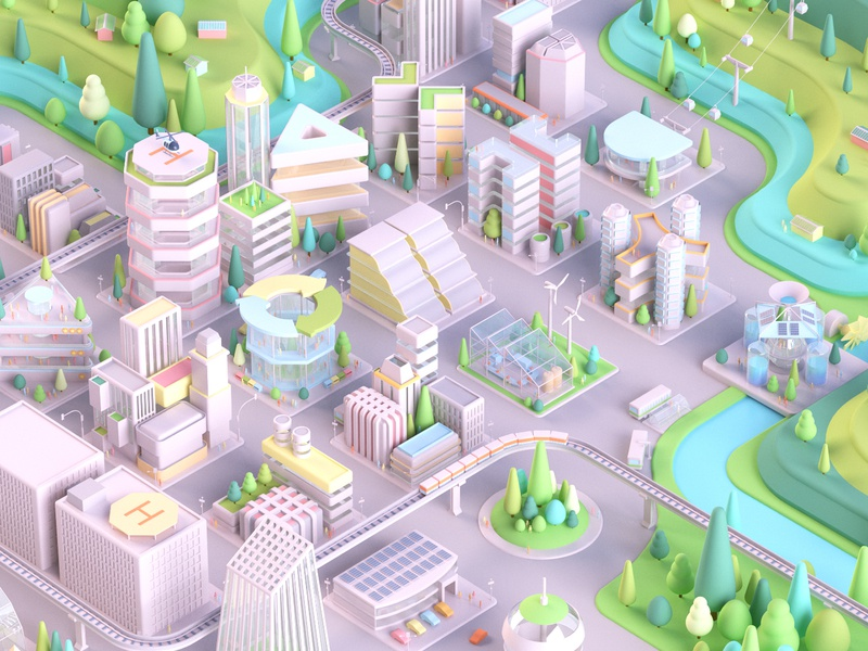 Self-Sufficient City dribbble dribbblers cabezarota animation 3d