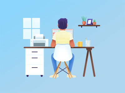 Workstation animation design illustration