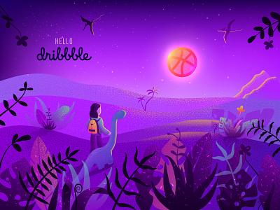 First shot! debut purple violet dinosaur dino jungle first shot hello dribbble adobe illustrator vector illustration