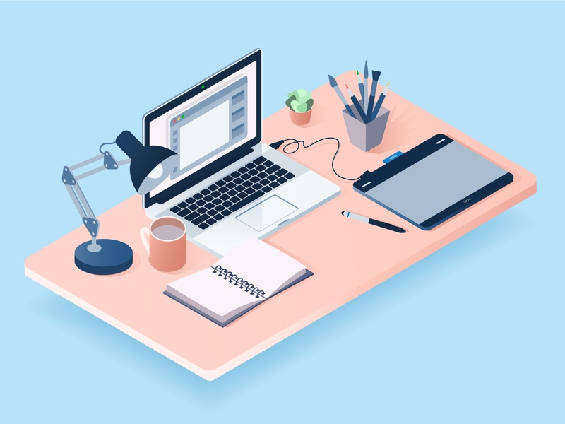 Isometric workplace flat desk notebook mug table wacom vector workplace macbook isometric art isometric adobe illustrator