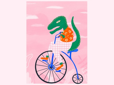 T-Rex riding penny farthing