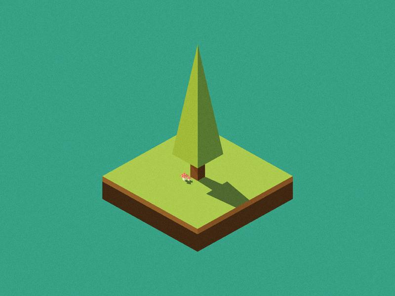 Tree and mushrooms tree forest isometric vector illustration mushroom amanita