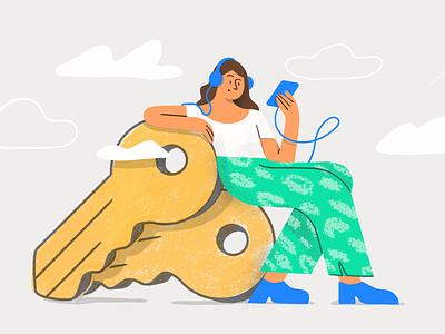 Real estate podcast illustration 🔑 draw drawing vector product design listening pattern woman podcast branding real estate key digital art drawing flat design digitalart charachter darkcube 2d illustration