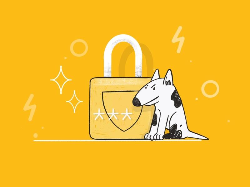 Data protection & encryption alert deposit key personal identity insurance app firewall spy security system encryption data protection lock dog illustration 2d darkcube digitalart illustration
