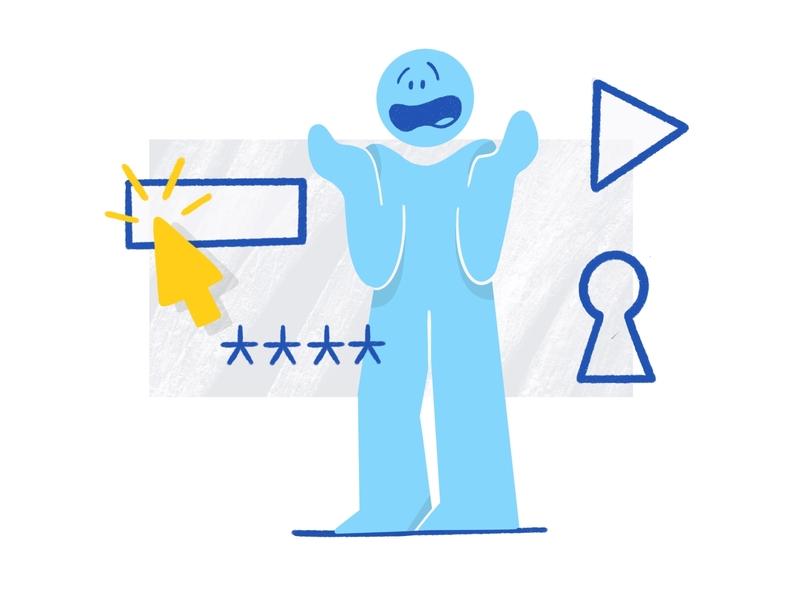 Forgot password illustration 🔐 ✉️ digital illustration product design flatdesign drawing recover password password manager password flat design charachter darkcube digitalart illustration