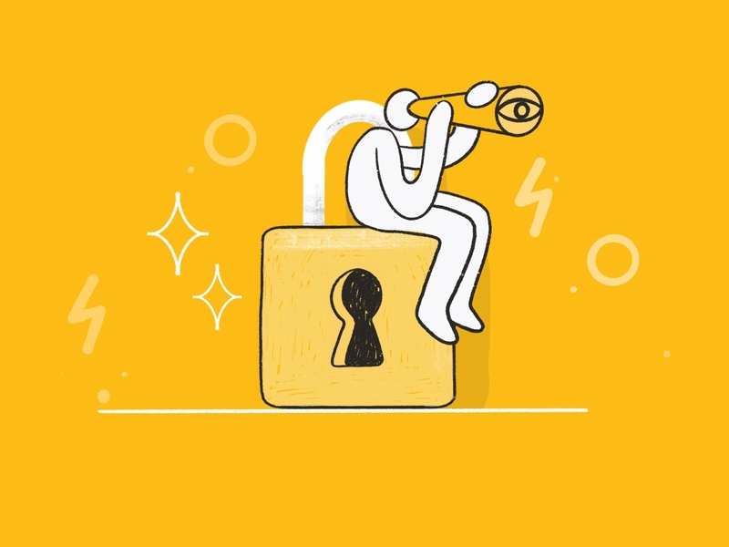 24/7 security illustration 🔒 mobile app illustration characterdesign handdrawn brush product design design lock pattern vector custom charachter darkcube digitalart illustration