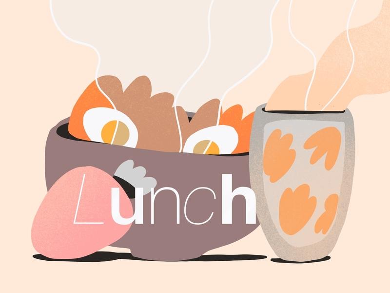 Lunch illustration 🥯 branding drawing product design strawberry tea texture flat design 2d vector food illustration darkcube digitalart illustration
