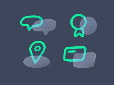 Teamwork icons illustrator payment card location medal message set icons icon drawing custom vector darkcube 2d digitalart illustration
