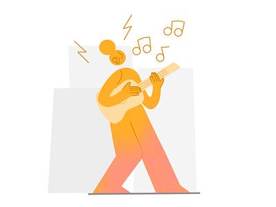Work hard, play hard 🎸 emotional design music landing page workspace playful guitarist guitar drawing vector charachter 2d darkcube digitalart illustration