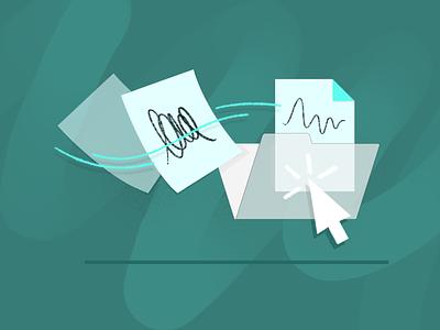 Process illustration 📄 📁 management app collaboration team team work flow paper click drawing teamwork draw drawing pattern custom vector 2d charachter darkcube digitalart illustration