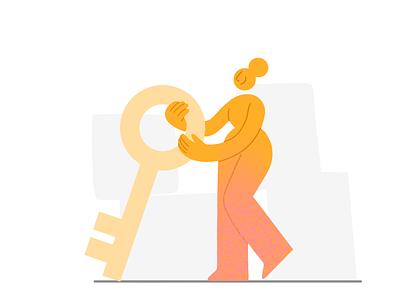 A key 🔑 digital illustration delivery app real estate investing key woman pattern drawing design vector charachter darkcube 2d digitalart illustration