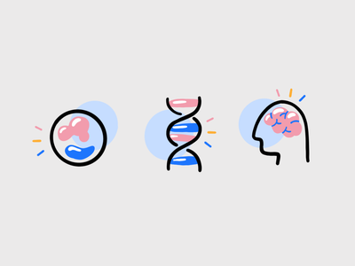 Science 🧬 scientific illustration researcher research custom dna molecule brain icon icon set icons drawing 2d vector charachter darkcube illustration