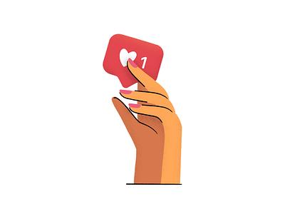Instagram like 😊 custom love heart like hand illustration