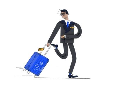 Boarding tag watch design custom digitalart pilot luggage delay flight 2d illustration