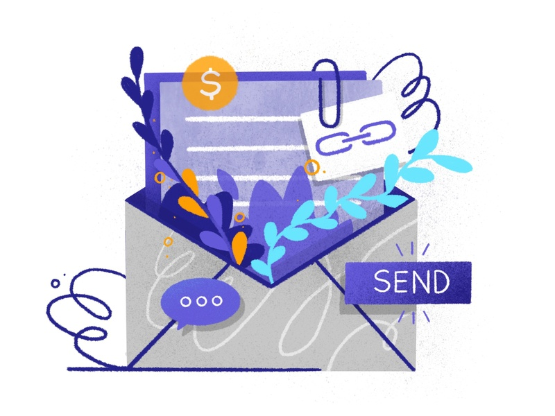 Email Marketing mail chimp coin send attached link envelope plants marketing email vector darkcube design draw drawing 2d digitalart illustration