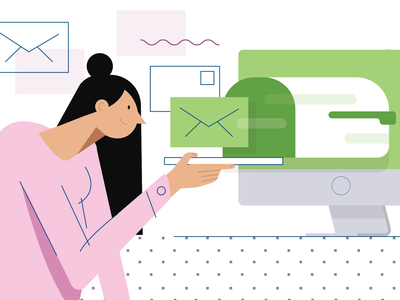 Better Email Marketing email campaign imac marketing email data hand girl landing page woman pattern vector ui darkcube drawing web draw drawing custom charachter digitalart illustration