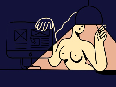 Getting Laid 👀 woman portrait imac dark light monitor night procreate love woman digitalart illustration