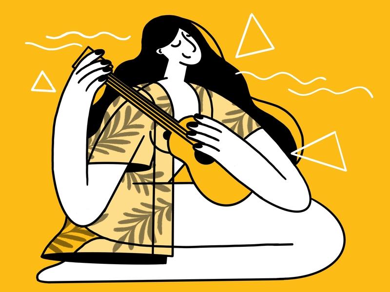 Music guitar illustration 2d charachter custom design draw drawing web tropical woman pattern plant chilling enjoying sun rays darkcube girl hand beach
