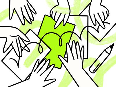 Work Better, Faster, Stronger. Together drawing digitalart pattern documents ui vector landing page branding 2d charachter darkcube illustrations product design web design direction creative brainstorm teamwork collaboration illustration