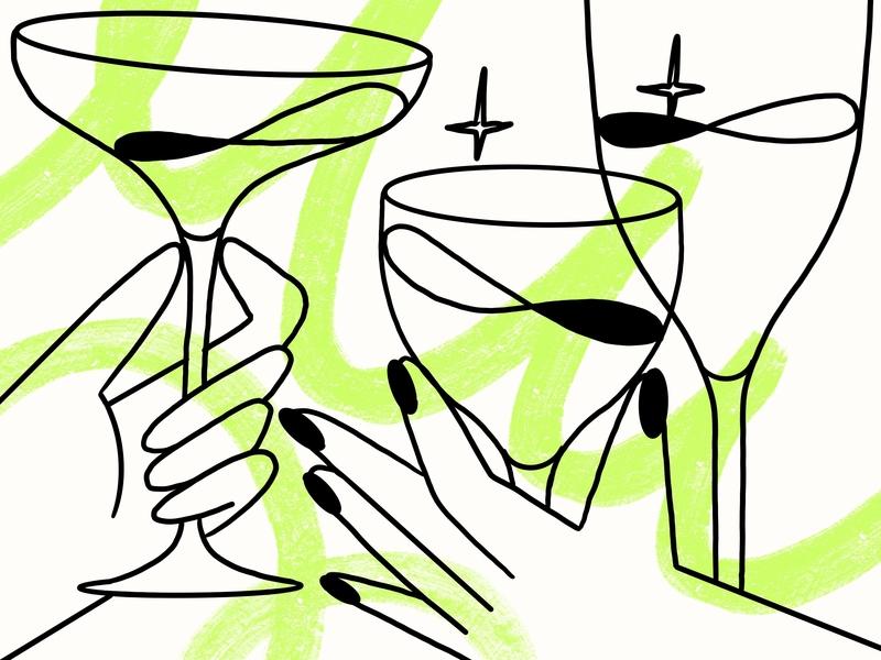 Chin Chin 🍸 cocktail drinks hands drawing 2d darkcube design illustration digitalart charachter