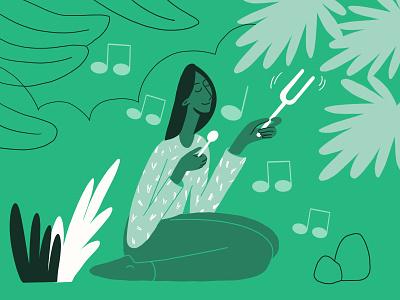 Meditation Sounds illustration digitalart 2d charachter web darkcube meditation app sound nature ambient music art sleep zen garden restaurant peaceful landing page pattern drawing woman vector
