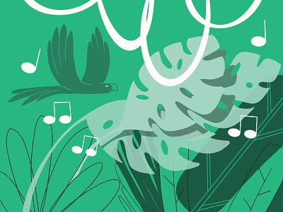 Meditation Sounds bird vector drawing pattern landing page peaceful restaurant zen garden sleep music art ambient nature sound meditation app darkcube web charachter 2d digitalart illustration