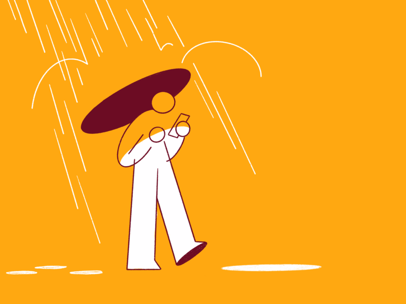 Rainy Days ☔️ drawing landing page web digitalart 2d darkcube walk rainy walking mobile phone character design rain drop illustration