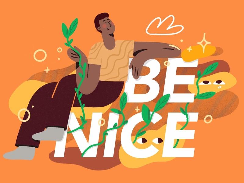 Work Hard And Be Nice ✨ product flat vector custom darkcube 2d boy design positive vibes plants character illustraion