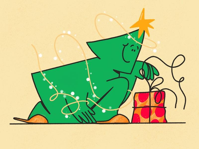 Secret Santa 🎄 christmas holidays product card design present christmas tree drawing custom vector design darkcube 2d charachter digitalart illustration