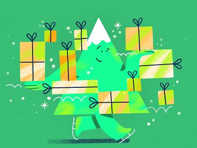 Holidays Ice Skating ⛸ greetings holidays presents tree christmas card charachter darkcube custom vector design flat illustration 2d digitalart illustration