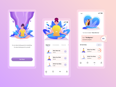 Yoga app concept design. homepage glass effect colorful ui daily yoga graph ui yoga illustration ui ux app design landingpage onboarding yoga yoga app