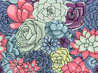 Succulents vector pattern