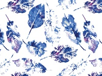 Watercolor leaves seamless vector pattern
