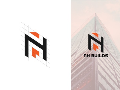 Construction Logo- NH Builds Logo Design for Construction Compan modern logo design graphic design brand identity abstract logo minimalist logo app logo business logo illustration ui logo design logo branding home icon home logo construction logo wordmark logo lettermark logo logos vector logo template