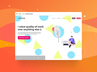 Amigos web page app web shots branding dribbble illustration graphic  design design ux ui