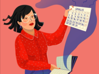 Woman in red calendar cesnauskaite nebegeda commission editorial woman red
