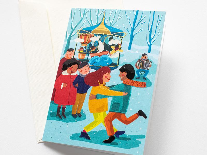 Christmas Dance blue celebration christmas paper art dancing people coloful illustrator family greeting card illustration design digital drawing vector adobe illustrator