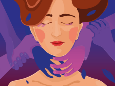 Falling down editorial face purple woman vector