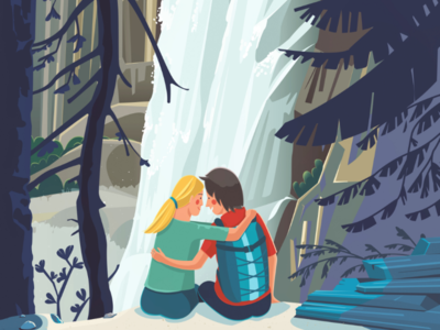 Love story at Yosemite National Park couple vector illustrator love