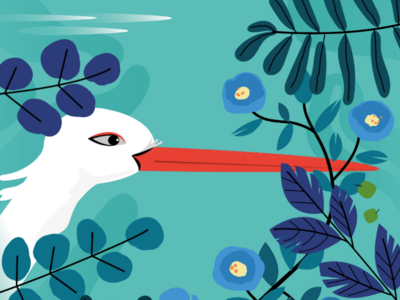 Late night thoughts vector flora plants stork red white blue