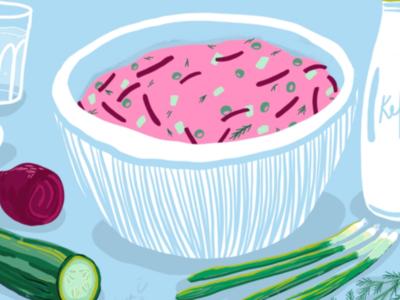 Šaltibarščiai blue green digitaldrawing ipadpro illustrator soup pink illustration procreate