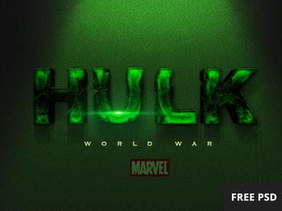Free Hulk PSD text style