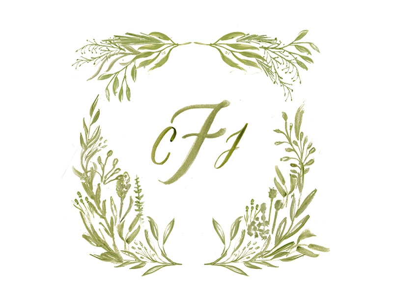 Furtado Wedding  greenery foliage floral brush watercolor lettering calligraphy monogram wedding suite wedding