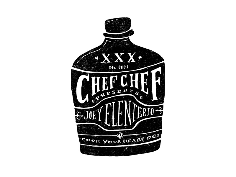 Chef Chef No. 0001 texture edge drawn type handlettering illustration