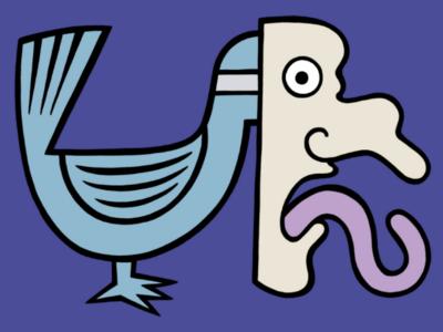 The mask will never slip drawing mask bird cartoon comic illustration