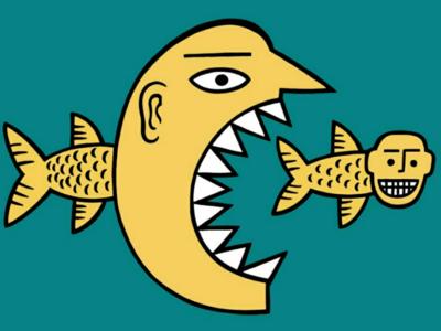 A good /bad day for fish eat fish fish cartoon illustration comic