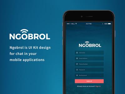 Ngobrol UI Kit uiux ngobrol ios forms element flat design chat app android