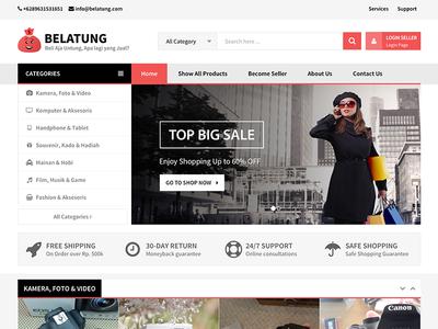 Belatung Online E-Commerce simple elegant red naistudio web website online e-commerce