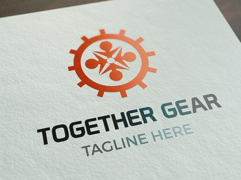Together Gear Logo Template together gears orange ux illustration ui vector logo design psd